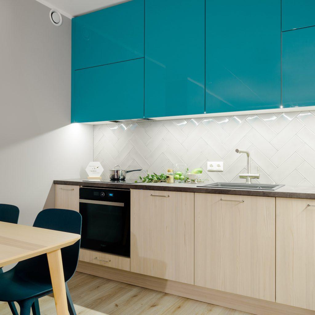 Virtuves mēbeles ar zaļganzilām fasādēm | Albero Mēbeles